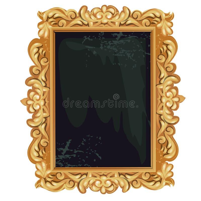Cadre fleuri fleuri d'or de cru avec l'espace vide pour votre texte ou portrait d'isolement sur le fond blanc Vecteur illustration libre de droits
