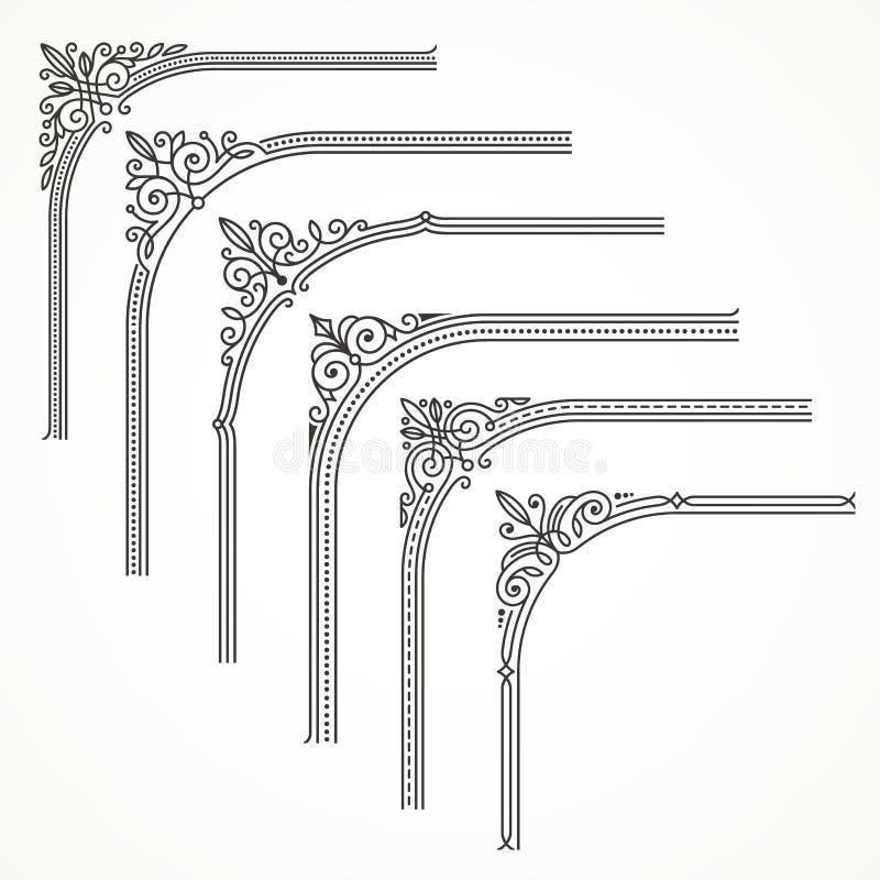 Cadre fleuri de Flourishes ou éléments faisants le coin illustration de vecteur