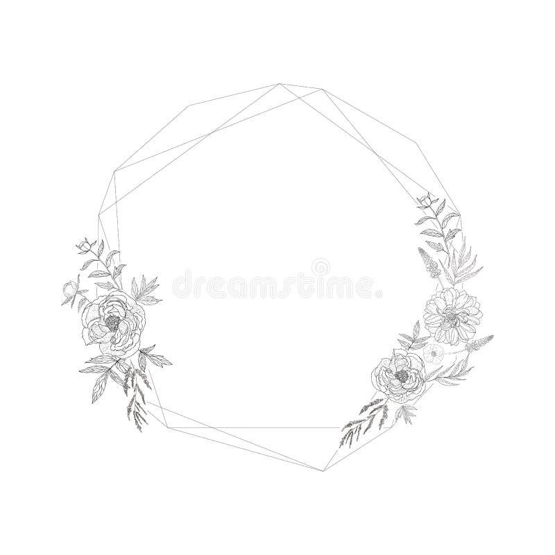 Cadre floral avec christal illustration libre de droits