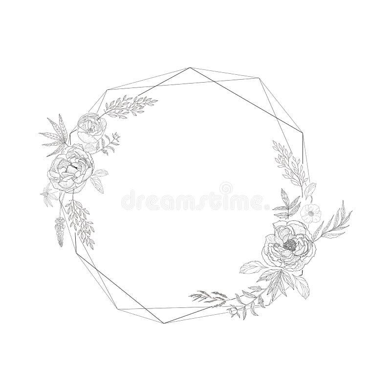Cadre floral avec christal illustration stock