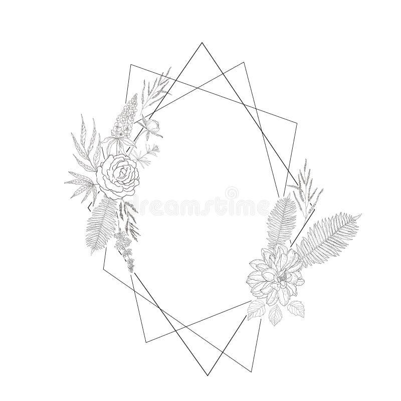 Cadre floral avec christal illustration de vecteur