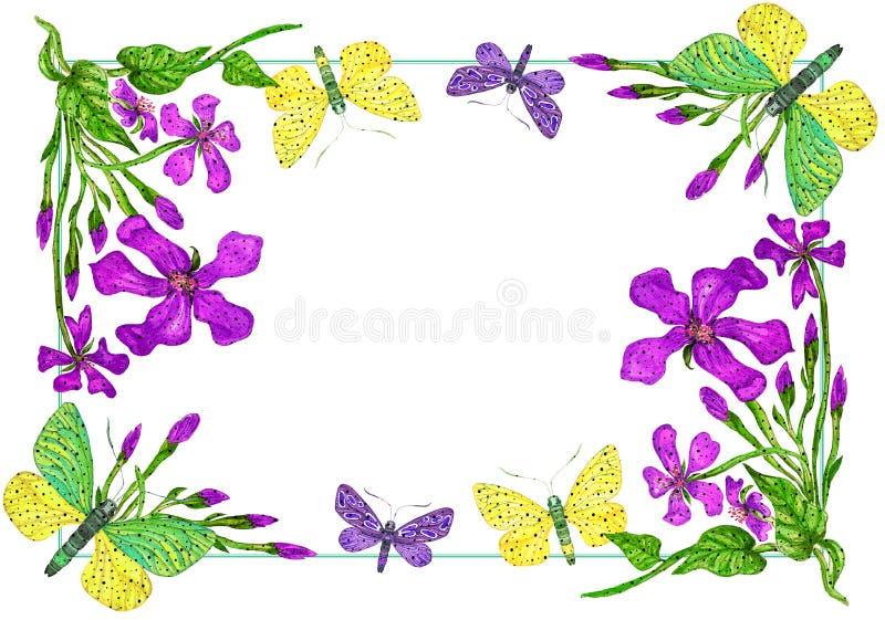 Cadre floral avec des papillons pour l'invitation, illustration d'aquarelle illustration libre de droits