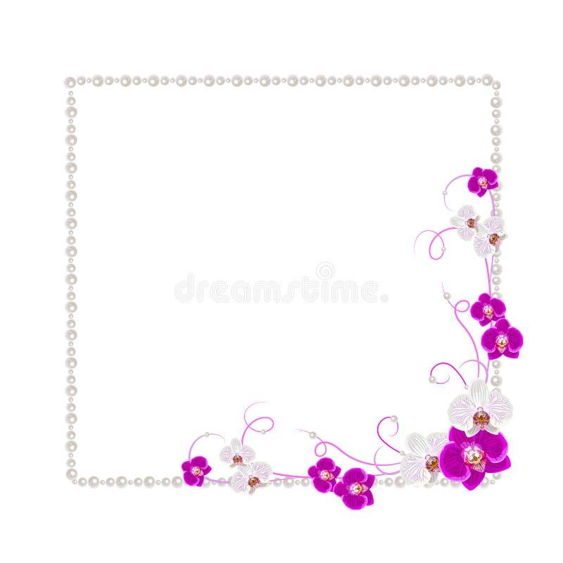 Cadre floral avec des perles illustration de vecteur