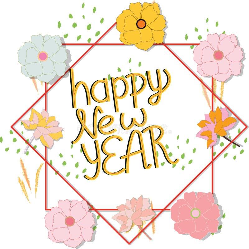 Cadre floral avec la bonne année de note illustration libre de droits