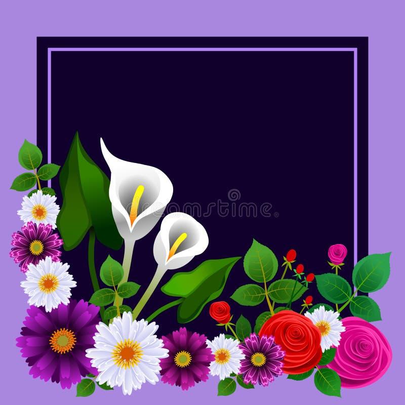 Cadre floral avec la disposition des roses et d'autres fleurs Id?al pour des cartes de voeux ou d'autres m?dias illustration de vecteur