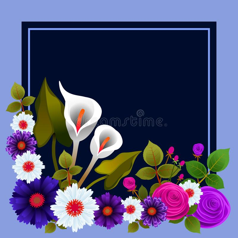 Cadre floral avec la disposition des roses et d'autres fleurs Id?al pour des cartes de voeux ou d'autres m?dias illustration stock
