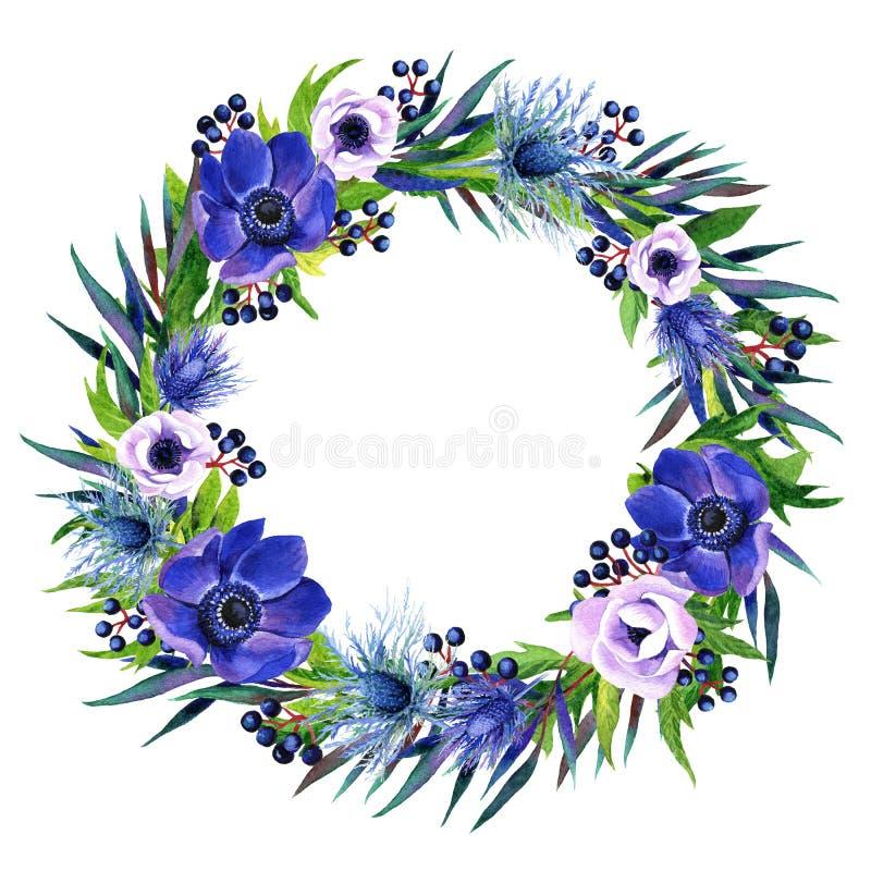 Cadre floral avec le bouquet coloré de boho d'aquarelle illustration libre de droits