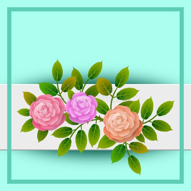 Cadre floral avec le bouquet des roses Idéal pour intégrer un message ou un dévouement personnalisé allusif à de divers événement illustration libre de droits