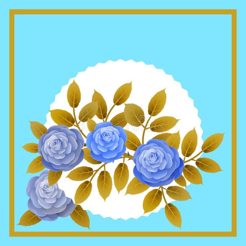 Cadre floral avec le bouquet des roses Idéal pour intégrer un message ou un dévouement personnalisé allusif à de divers événement illustration de vecteur