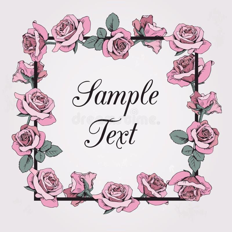 Cadre floral avec le texte témoin sur le fond beige Roses roses illustration stock