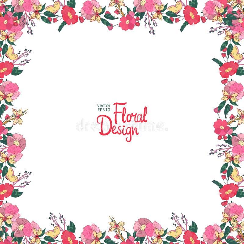 cadre floral avec les baies et le papillon de fleurs. Black Bedroom Furniture Sets. Home Design Ideas