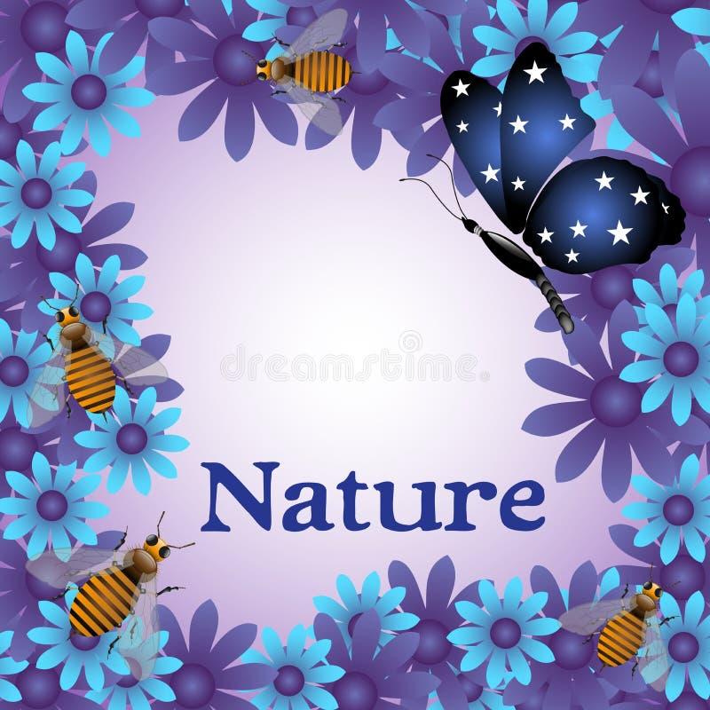 Cadre floral avec les fleurs bleues illustration stock