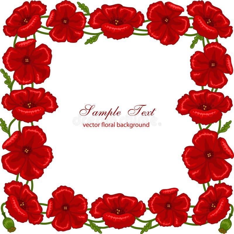 Cadre floral avec les pavots rouges illustration de vecteur