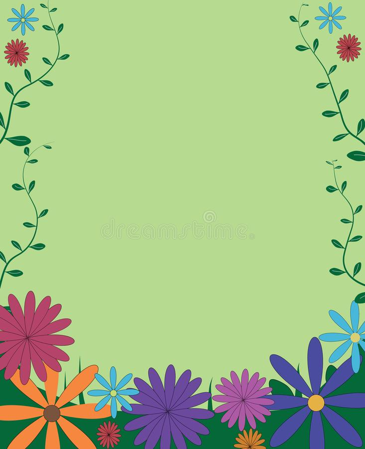 Cadre floral coloré drôle décoratif de fond avec la frontière le illustration libre de droits