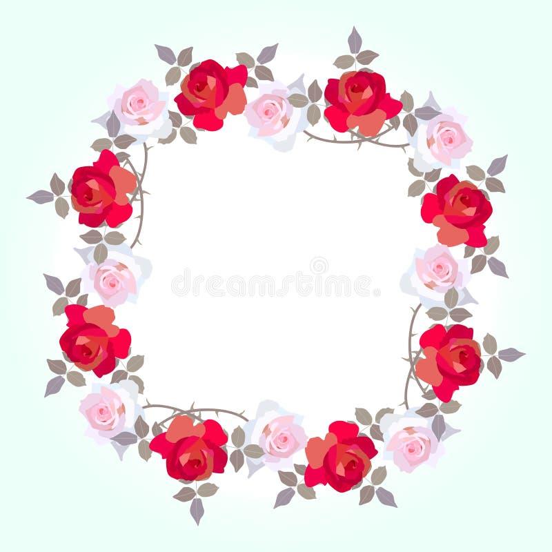 Cadre floral décoratif des fleurs roses rose-clair et rouges dans le vecteur L'espace pour le texte Carte de salutation ou d'invi illustration de vecteur