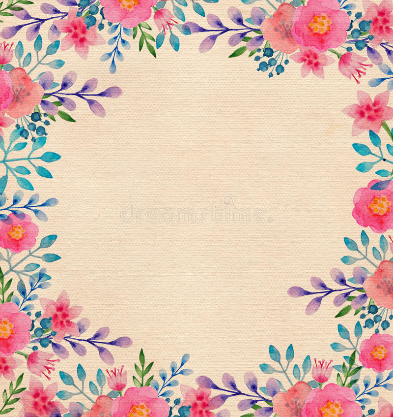Cadre floral d'aquarelle illustration stock