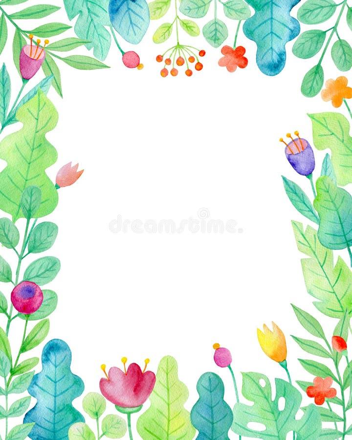 Cadre floral d'aquarelle avec des fleurs illustration de vecteur