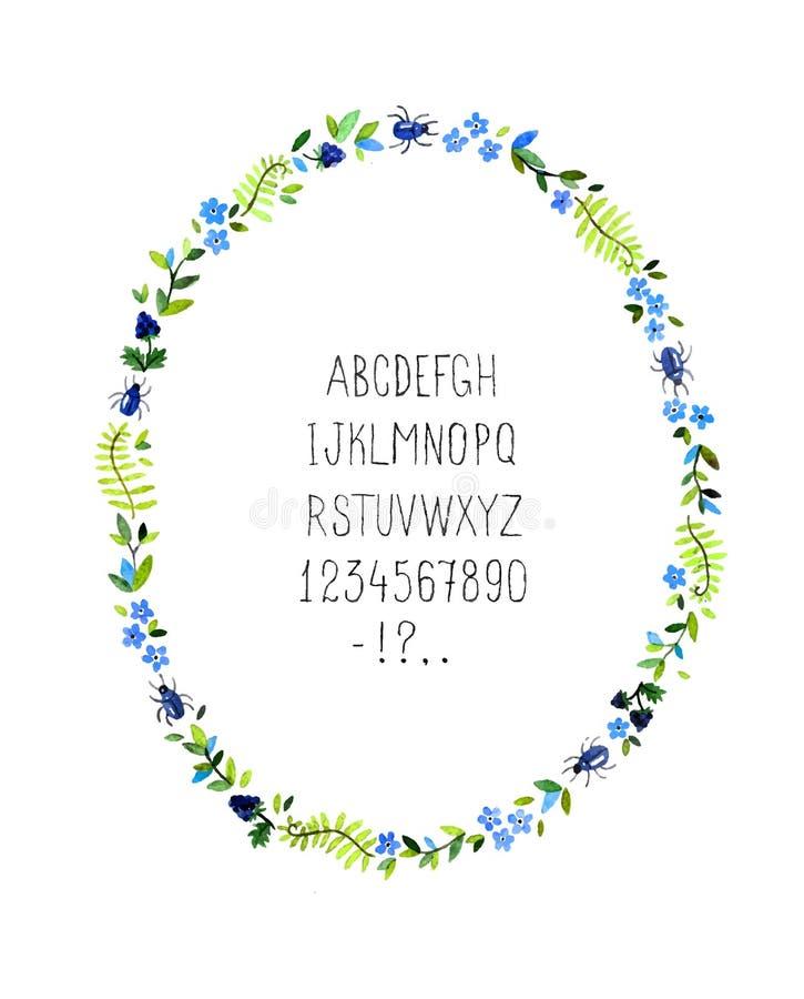 Cadre floral d'aquarelle avec l'alphabet Vecteur photographie stock libre de droits