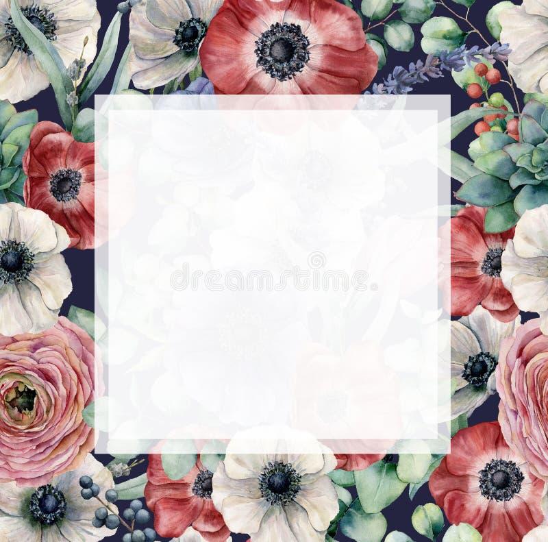 Cadre floral d'aquarelle avec les fleurs exotiques Anémones peintes à la main, ranunculus, baies, lavande sur bleu-foncé illustration stock