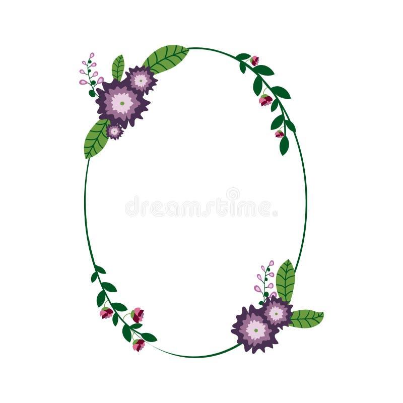 Cadre floral d'ellipse illustration libre de droits