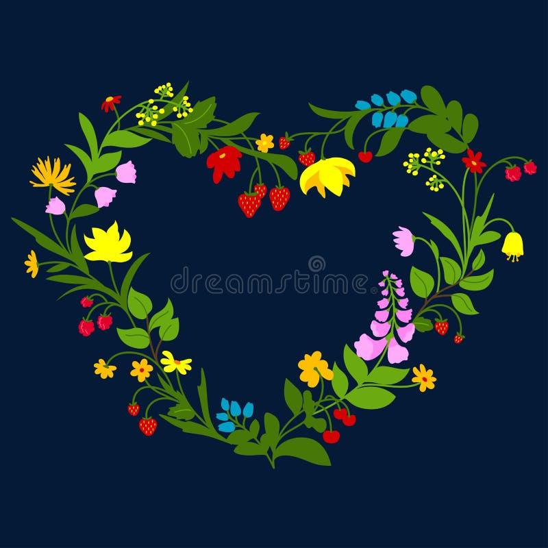 Cadre floral de coeur avec des fleurs et des baies illustration stock