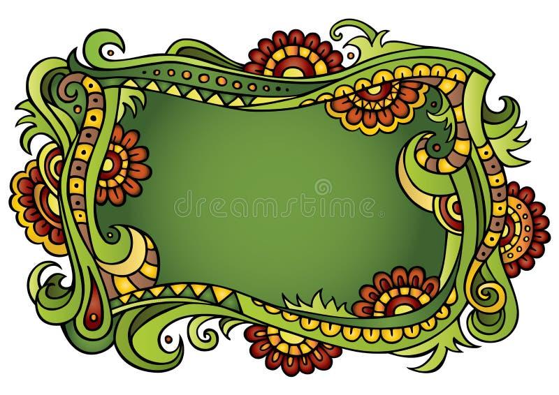 Cadre floral de conte de fées de vecteur d'imagination illustration de vecteur