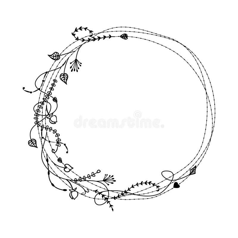 Cadre floral de croquis de griffonnage avec les brins sauvages Concept de la Bohême pour épouser l'invitation photographie stock libre de droits