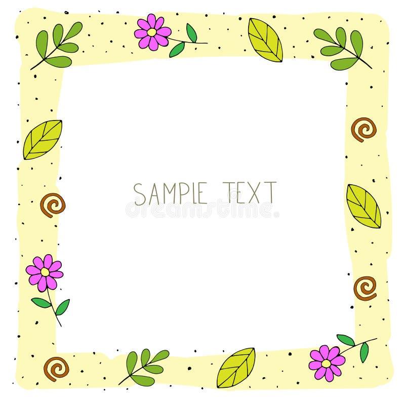 Cadre floral de fête de couleur de bande dessinée mignonne avec les éléments décoratifs Illustration de vecteur illustration de vecteur
