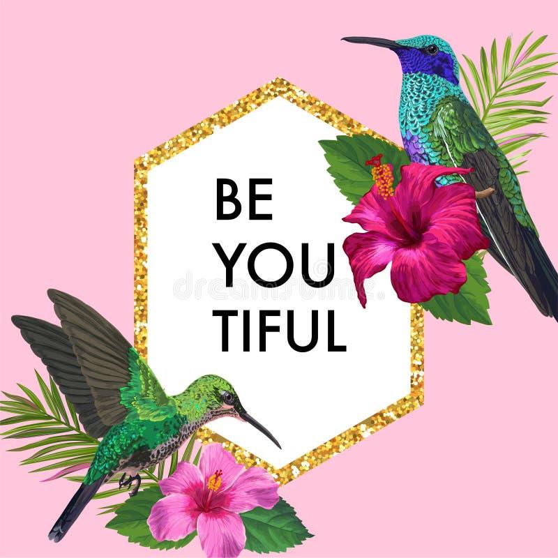 Cadre floral de floraison de ressort et d'été avec les colibris tropicaux Fleurs de ketmie d'aquarelle pour l'invitation, épousan illustration de vecteur