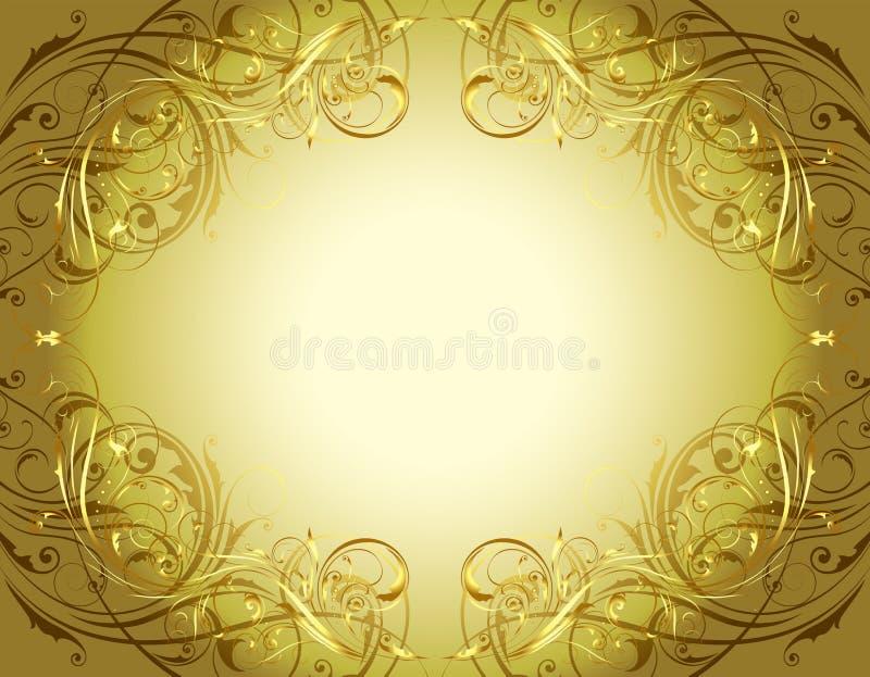 Cadre floral de fond d'or illustration stock