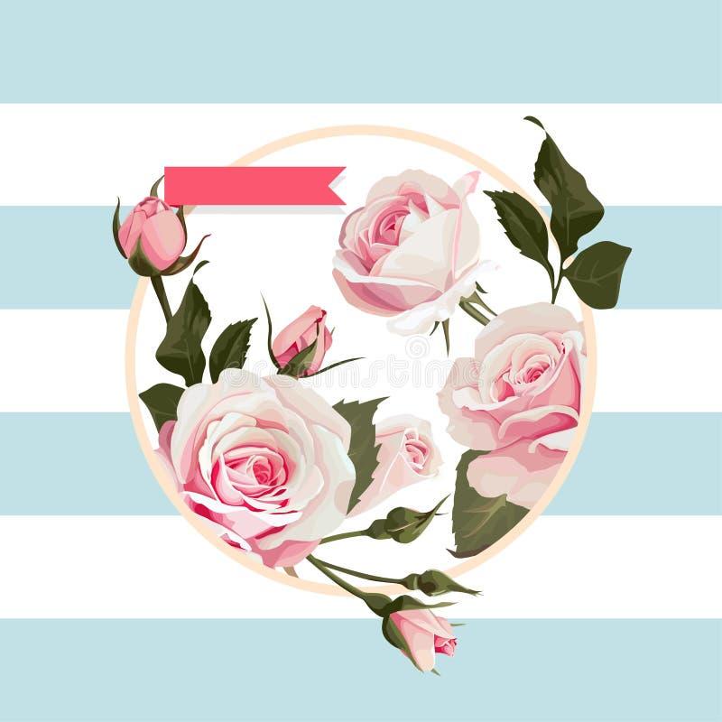 Cadre floral de forme de cercle de vecteur avec les roses roses sur le fond rayé bleu illustration de vecteur