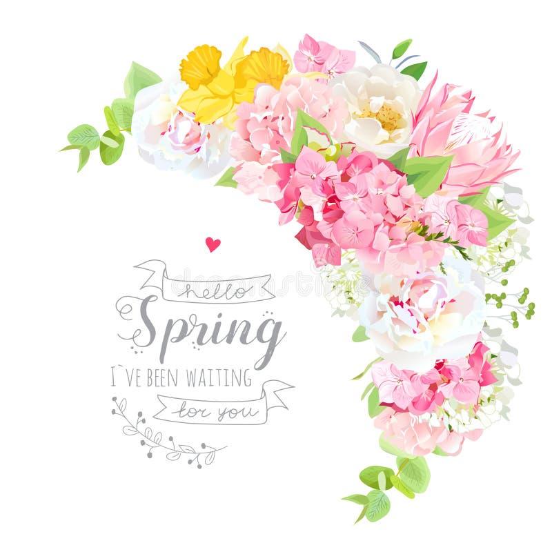 Cadre floral de forme de vecteur en croissant de bouquet illustration libre de droits