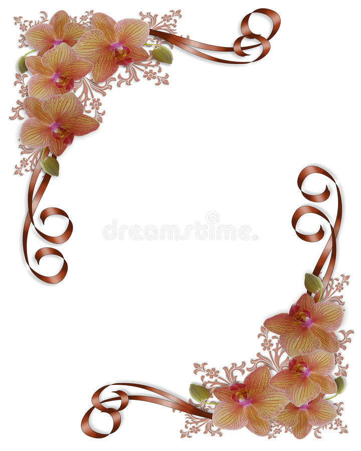 Cadre floral de mariage d'orchidées illustration stock