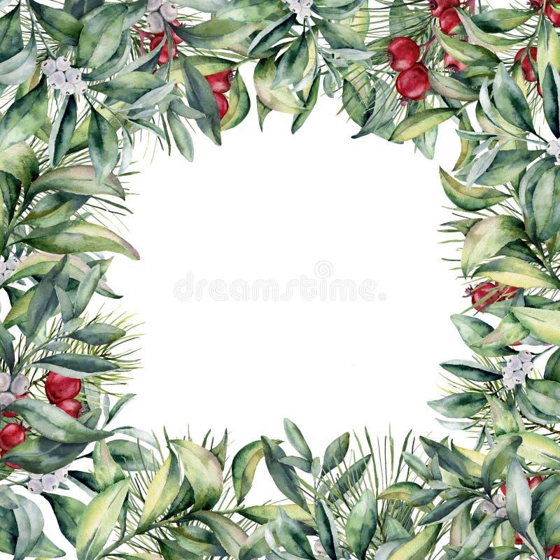 Cadre floral de Noël d'aquarelle Carte de voeux avec le pla d'hiver illustration libre de droits