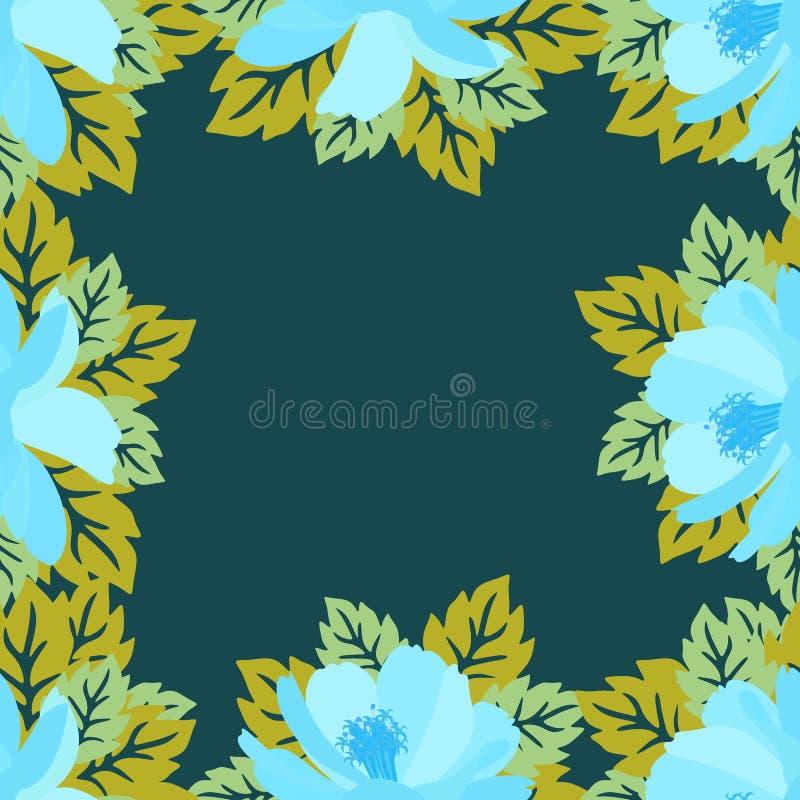 Cadre floral de place avec les fleurs bleues stylisées de cosmos L'espace pour le texte Conception d'été de vecteur Copie colorée illustration libre de droits