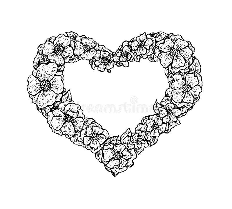 Cadre floral de style noir et blanc de vintage dans une forme d'un coeur illustration libre de droits