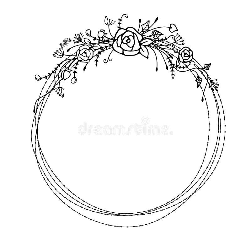 Cadre floral de vecteur avec des fleurs Concept de la Bohême images libres de droits