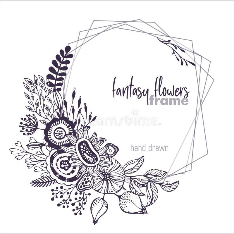 Cadre floral de vecteur noir et blanc avec des bouquets des fleurs fansy tirées par la main illustration stock