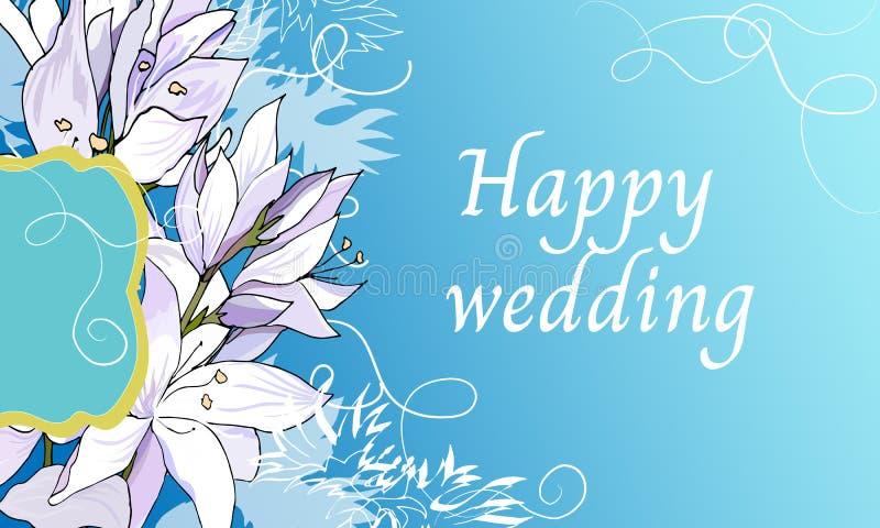 Cadre floral des textes des lis légers pour des félicitations et des invitations Invitation l'épousant élégante sur un fond bleu  illustration de vecteur