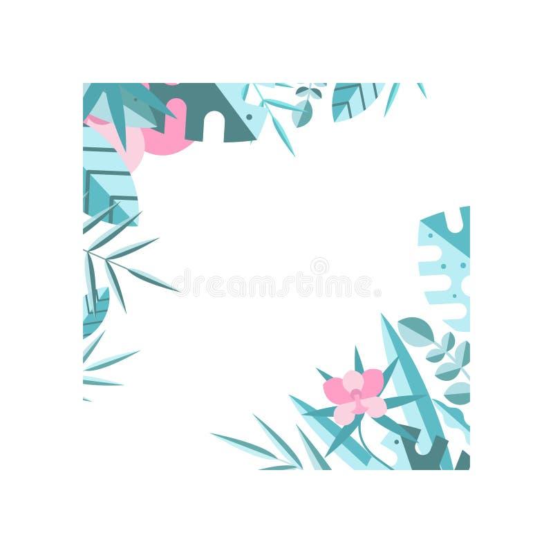 Cadre floral fait de feuilles tropicales bleues et fleurs roses Frontière naturelle originale Élément plat de vecteur pour la car illustration stock