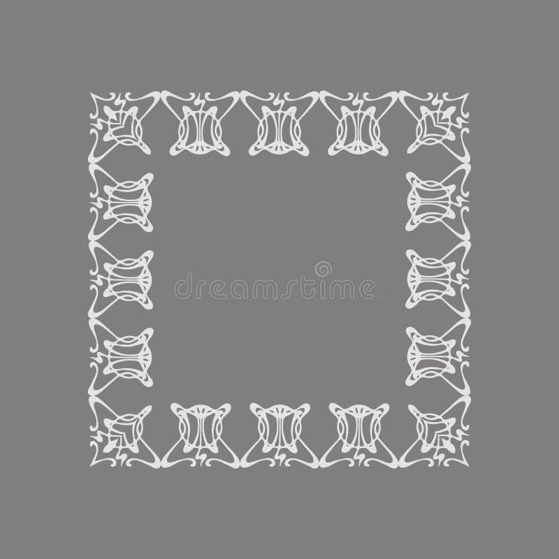 Cadre floral gris carré de style d'Art Nouveau de vecteur illustration de vecteur