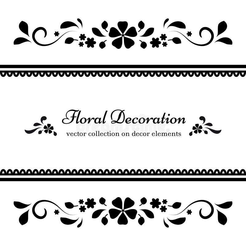 Cadre floral noir et blanc illustration de vecteur