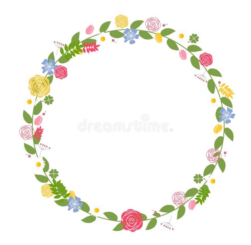 Cadre floral pour épouser et carte d'anniversaire. Vecteur illustration de vecteur