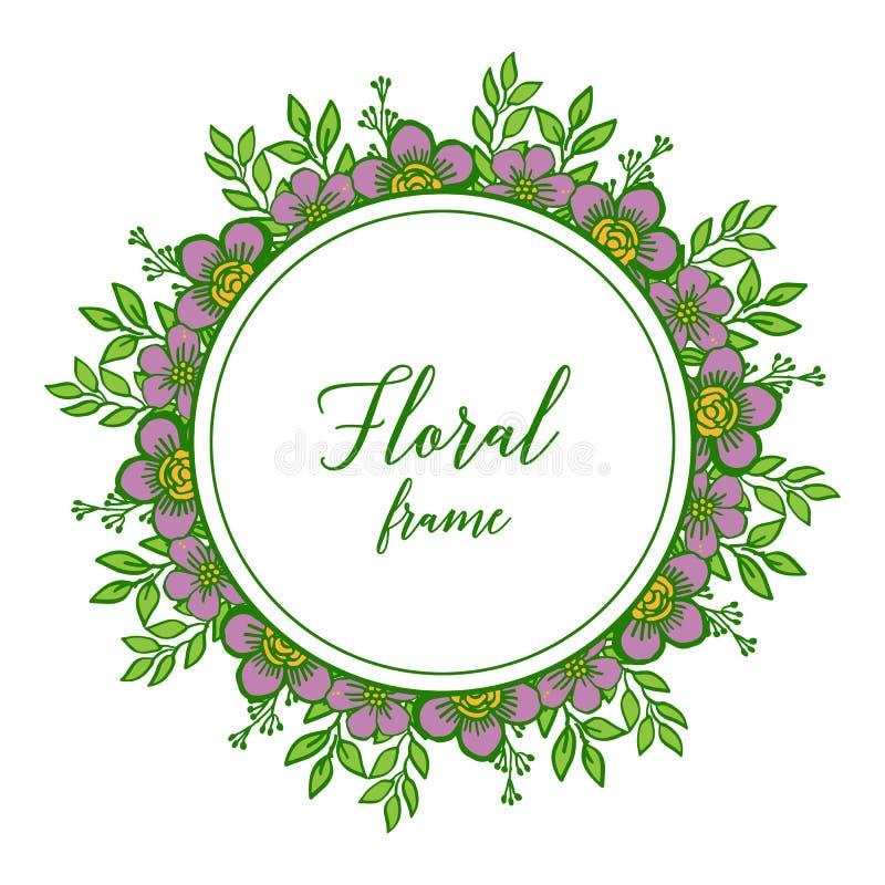 Cadre floral pourpre de diverse feuille de variation d'illustration de vecteur illustration de vecteur