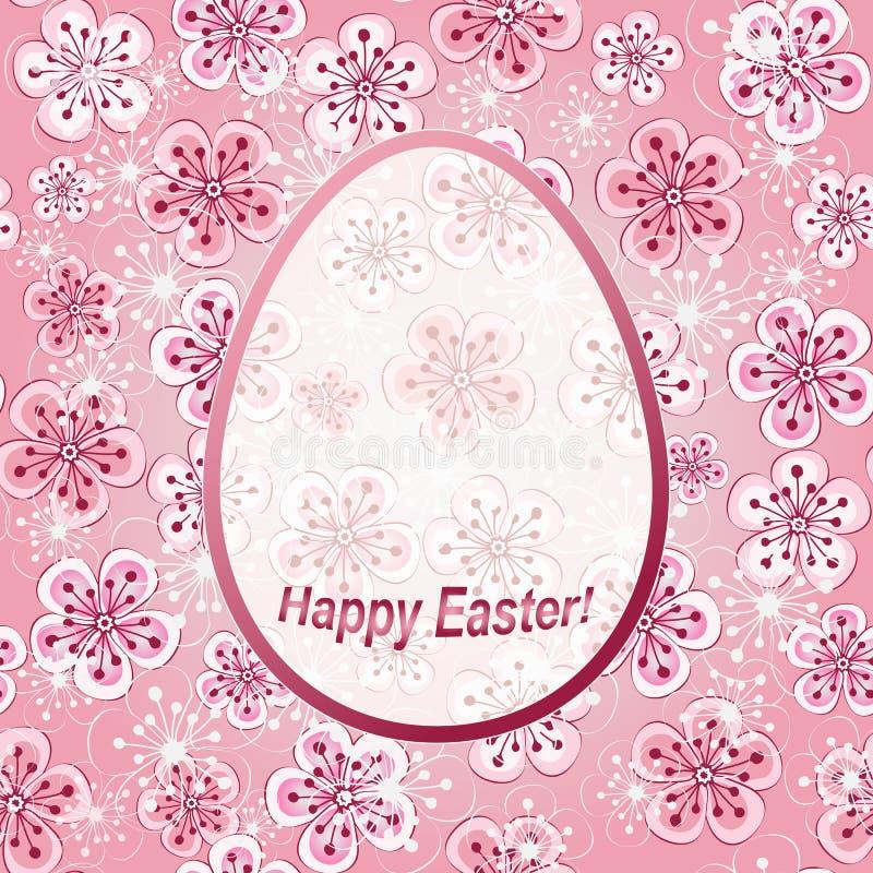Cadre floral rose doux Joyeuses Pâques de salutation illustration stock