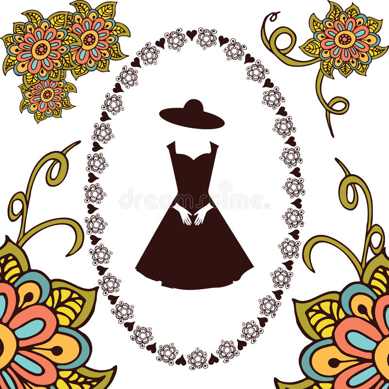 Cadre floral tiré par la main autour de robe illustration stock