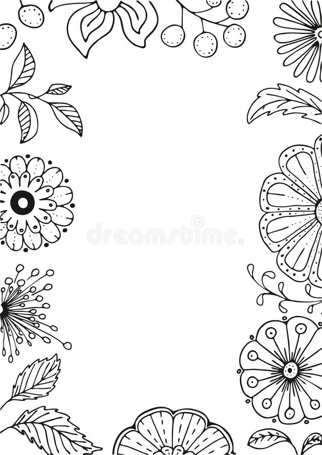 Cadre floral tiré par la main dans le style de griffonnage avec des fleurs et des feuilles, illustration de vecteur illustration stock