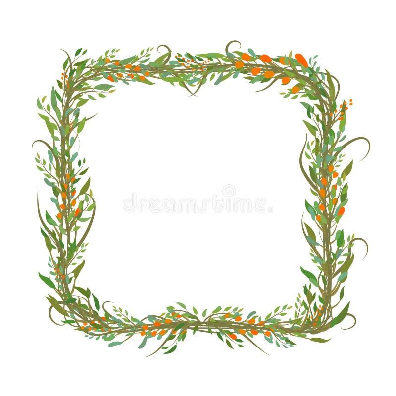 Cadre formé par place des feuilles et des branches illustration de vecteur