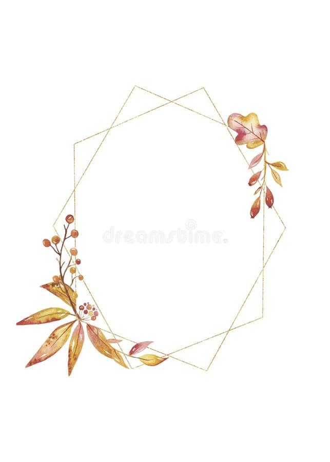 Cadre géométrique d'or d'automne d'aquarelle avec les feuilles lumineuses illustration stock