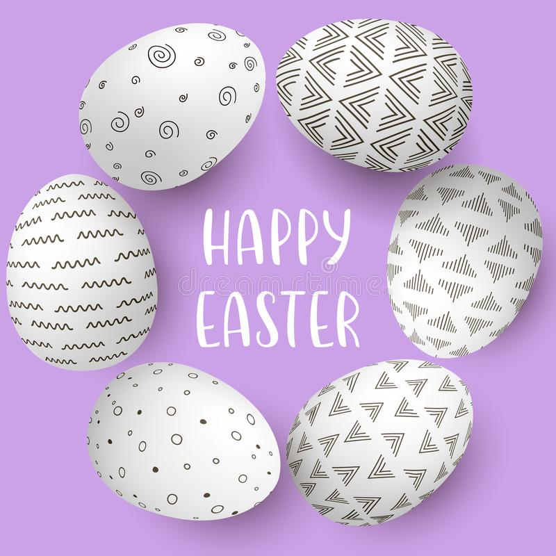 Cadre heureux d'oeufs de pâques avec le texte Oeufs blancs sur le cercle avec la décoration simple monochrome sur le fond pourpre illustration stock